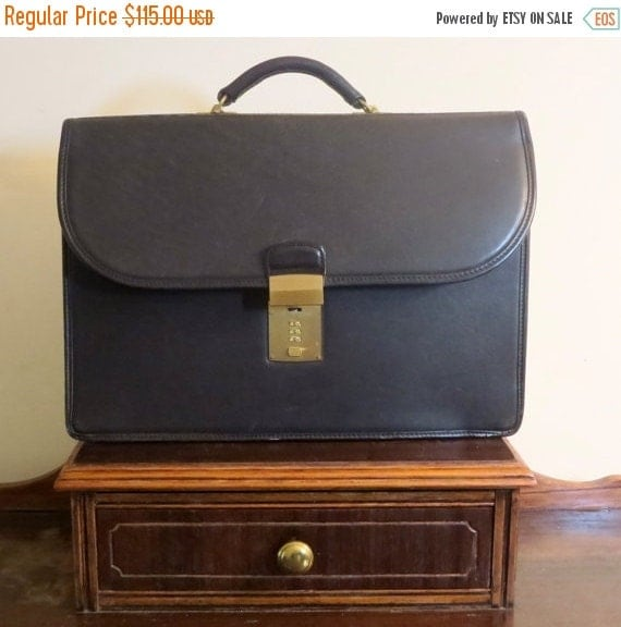 Football Days Sale Coach Diplomat Black Leather Briefcase Attache Laptop IPad Case- Combination Missing- Lock Stuck Won't Latch
