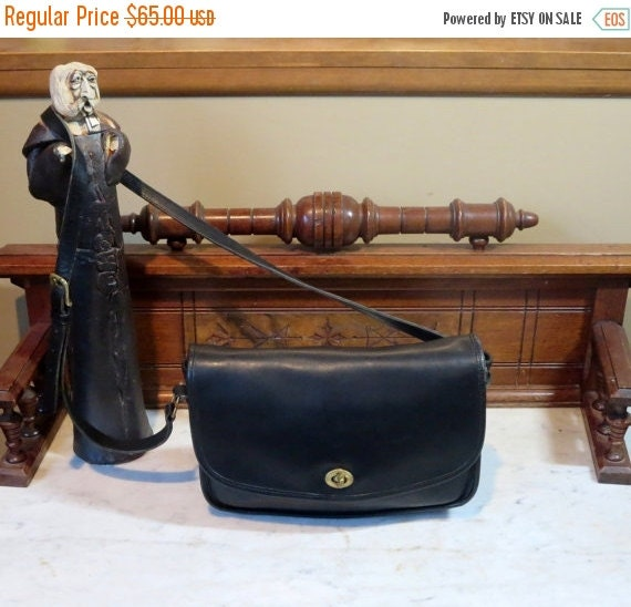 Football Days Sale Coach City Bag In Black Leather With Cross Body Strap Style No 9790 - Very Good Condition- USA Made
