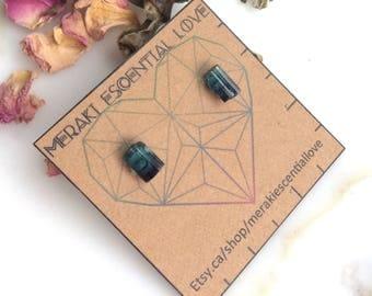 Mini indies   Raw Indicolite Earring Studs. Blue Tourmaline Earring Studs. Boho Jewelry.