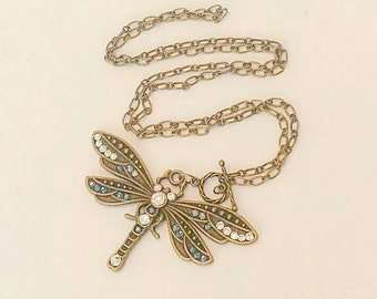 Vintage Dragonfly Necklace steampunk jewelry art deco dragonfly Swarovski crystals The Urban Disciple Luxe Hardware Victorian steampunk OOAK