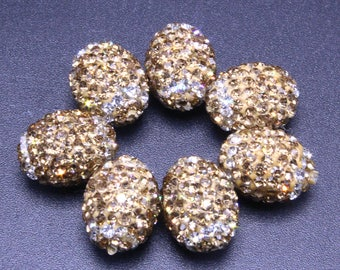10 Oval Faceted Bead - Gold Rhinestone Beads - Black Crystal Beads - CZ Bead Charms Jewelry Making Supplies