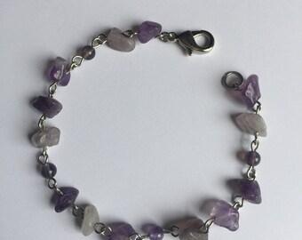 Amethyst Chip Beaded Bracelet