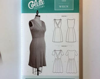 The Wren Dress by Colette Patterns - Paper Sewing Pattern - Sleeveless or Short Sleeve Wrap Dress Pattern - Womens sizes XS to 3X