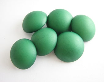 """Green domed buttons with shanks, 6 plastic half bubble buttons, 23 mm - 7/8"""""""