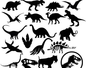 Dinosaur Silhouettes SVG Dino DXF Prehistoric animals Clipart Vector Cricut Silhouette Cameo