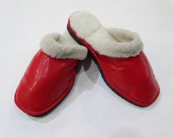 Red Leather Slippers,Warm Slippers,Gift for Her F450