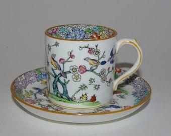 Rare Antique Minton demitasse cup and saucer Emperors Garden B919 circa 1882-1910