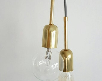 Brass Pendant with brass tube and fabric cable - E27/ E26