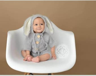 9-12 Months,Bunny,Knits Bunny, Mohair outfit,Photo props, Photography props,Easter props,Sitter size,Grey,hooded,hoodies,