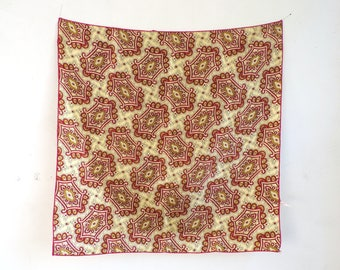 60s scarf, damask scarf, paisley scarf, 1960s scarf, red gold, mad men, acetate scarf, square scarf, paisley ascot, preppy