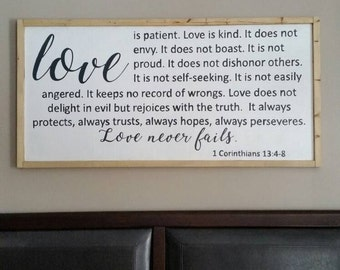 Gift, Love sign, 1 Corinthians 13, master bedroom sign, master bedroom decor, romantic sign, wall decor