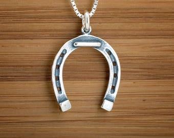 STERLING SILVER Horse Shoe Pendant Charm Earrings - Chain Optional