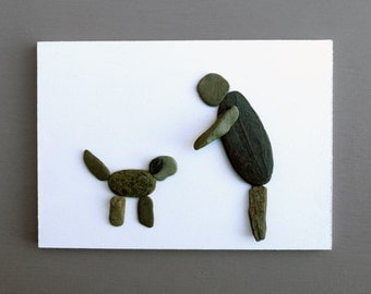 """WALL PLAQUE """"Man's Best Friend"""" - man & dog made from beach pebbles/slate on 6"""" x 4"""" MDF"""