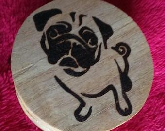 Small wooden pug gift/trinket box