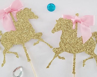 3  glitter Carousel horse centerpiece picks,carousel horse first birthday, circus 1st birthday party centerpiece