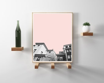 Spanish City Photography. Pink, Black and white, travel photography. Modern, minimal, scandinavian art. Instant Download in 8.5x11 and 20x24