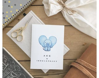 ELEPHANT CARD // funny birthday card, birthday card, cute birthday card, greeting card, cute card, cute elephant, girlfriend birthday gift