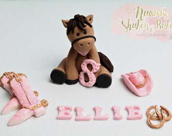 Cowgirl Edible Cake Topper Set