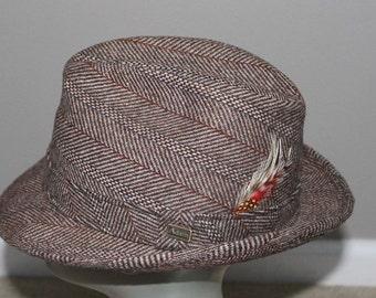 Vintage Herringbone Tweed Brown Wool Hat Fedora Adam NY M 7 7 1/8 Feather