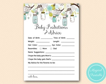 Mason Jar Baby Predictions and Advice Printable, Predictions for Baby, Baby Predictions, Baby Shower Games, Baby Shower Activities TLC146