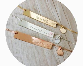 Heart Charm and Bar Necklace | Heart Charm Necklace | Handstamped Custom Bar Necklace | Sterling Silver Bar Necklace