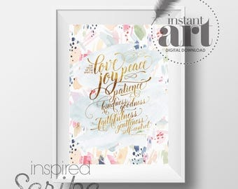 Fruit of the Spirit Bible verse Galatians 5 22-23 in fresh watercolor wash with brushstroke detail instant digital download printable
