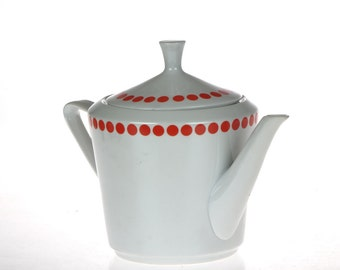Vintage Polka Dot Teapot - Northland Fine China Pottery - Made in Hungary - White and Red
