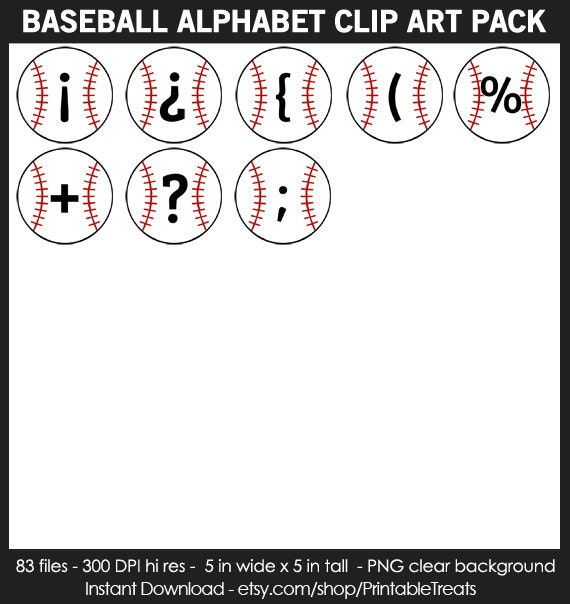 Baseball Alphabet Clipart Pack Commercial Use Numbers