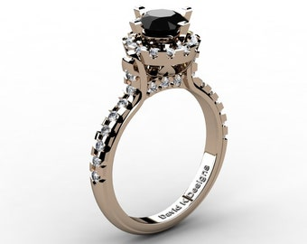 French 14K Rose Gold 1.0 Ct Black And White Diamond Solitaire Engagement Ring R1096-14KRGDBD