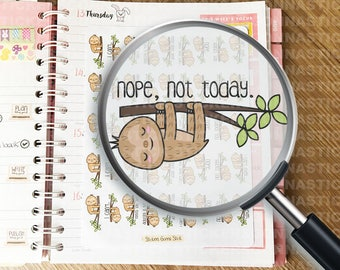 45 Lazy Sloth Stickers | Kawaii | Ideal for planners, calendars, journals, scrapbooks and more