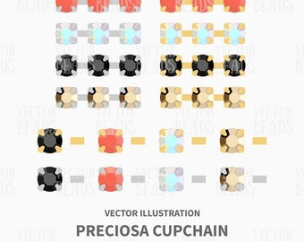 Preciosa Silver and Gold Cupchains Vector Illustration - ai, eps, pdf, png