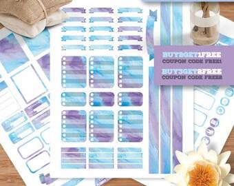 Watercolor Planner Stickers for Erin Condren Life Planner, Weekly Stickers Kit, Printable Planner Stickers, Blue Stickers Kit