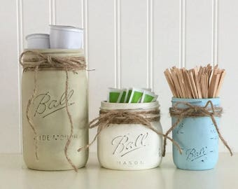 Canister Set, Mason Jar Storage, Coffee Canister Set, Kitchen Storage, Kitchen Decor, Mason Jar Kitchen Decor, Beige White Blue Kitchen Jars