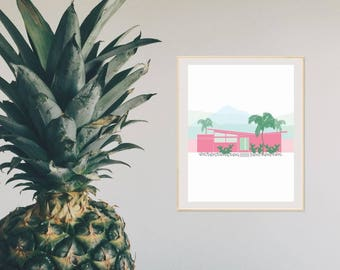 Butterfly house - palm springs california - pink house illustration - printable wall art - Digital wall decor - INSTANT DOWNLOAD