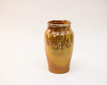 Soda fired vase, pottery vase, ceramic vase, brown and gold vase