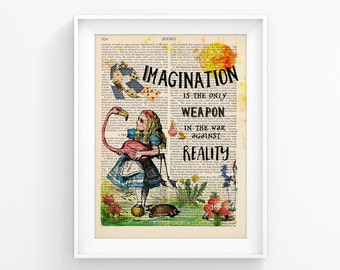 Alice In Wonderland / Imagination Vintage Illustration Print, Upcycled Page Print Wall decor Retro Poster Vintage Book print 095
