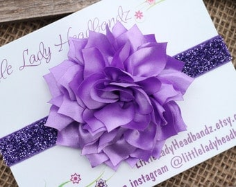 Purple headband - glitter baby headband - satin dahlia lotus flower - infant newborn toddler headband