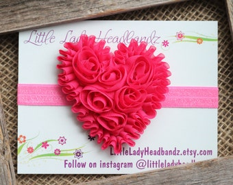 Pink Heart Baby Headband Pink Heart Bow - chiffon heart baby headband - toddler headband