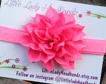 Neon pink headband - dahlia flower headband glitter sparkle - toddler headband infant baby headband