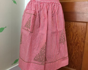 Vintage Half Apron-Beautifully Handmade-Sewn-Mid Century-Red-White-Gingham-Cross Stitched Christmas Trees