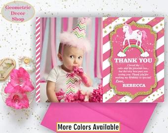Unicorn Thank You Card - Unicorn Birthday Thank You Card Rainbow Birthday Party Photo Photograph Pink Gold Glitter THU13
