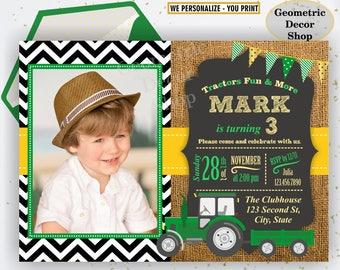 Tractor Birthday Invite, Tractor Invitation, Tractor Birthday Invitations, Yellow, Woodland Green Boy Photo Photograph Farm Burlap BDT21