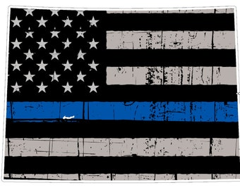 Colorado State (V8) Thin Blue Line Vinyl Decal Sticker Car/Truck Laptop/Netbook Window