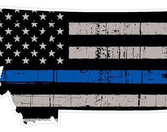 Montana State (V27) Thin Blue Line Vinyl Decal Sticker Car/Truck Laptop/Netbook Window