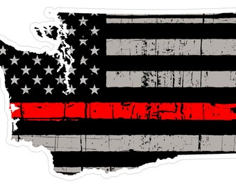 Washington State (C47) Thin Red Line Vinyl Decal Sticker Car/Truck Laptop/Netbook Window
