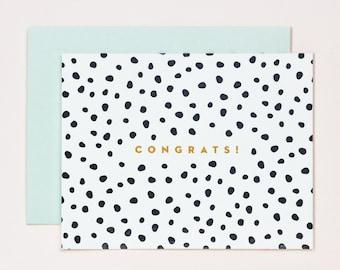 Wedding Congratulations Card - black and white polka dot spots - Gold Engagement Card - Congratulations Congrats Card - Letterpress Cards