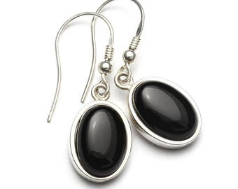 Black Onyx Earrings, 925 Sterling Silver, Unique only 1 piece available! color black, weight 6.3g, #45619