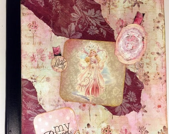 "Decoupage Altered Notebook ""Victorian Angel"", journal, vintage, magic"