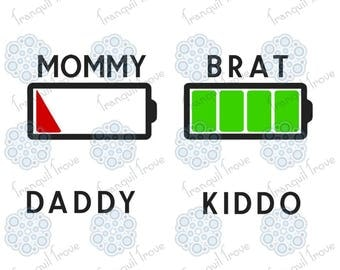 Set of 2 - SVG & DXF design - Mom/Dad and Kid's matching Batteries t-shirts cut files (Cricut and Silhouette)