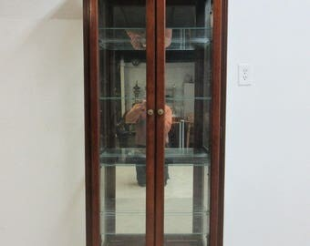 Vintage Pulaski Mahogany China Cabinet Curio Crystal Display Unit Hutch A